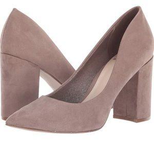 Fergalicious Diva Suede block heel pumps size 7.5